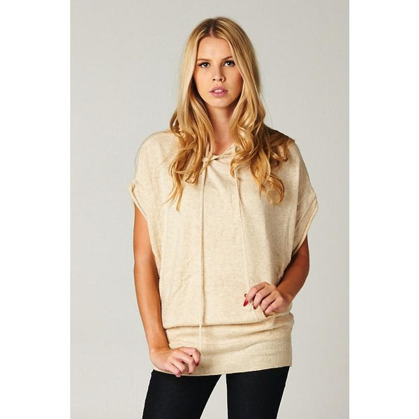 Hooded Short Sleeve Sweater - Angora Wool Blend
