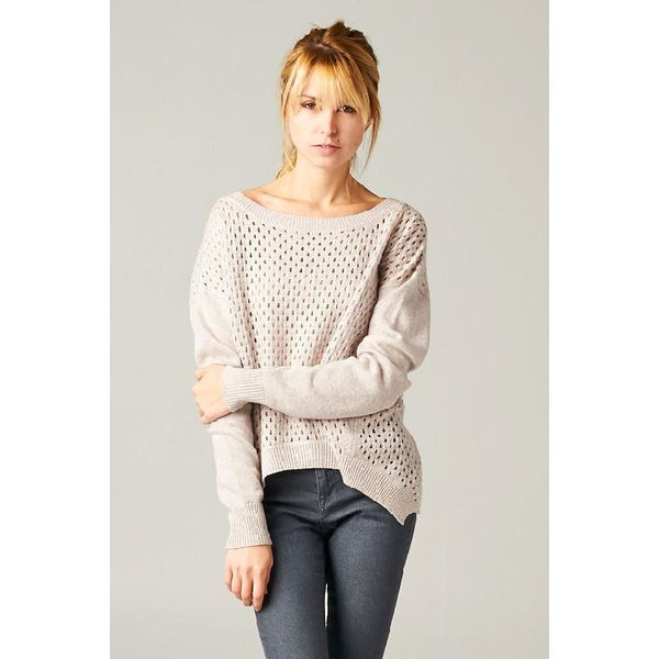 Open Waffle Knit Sweater with High Low Hem