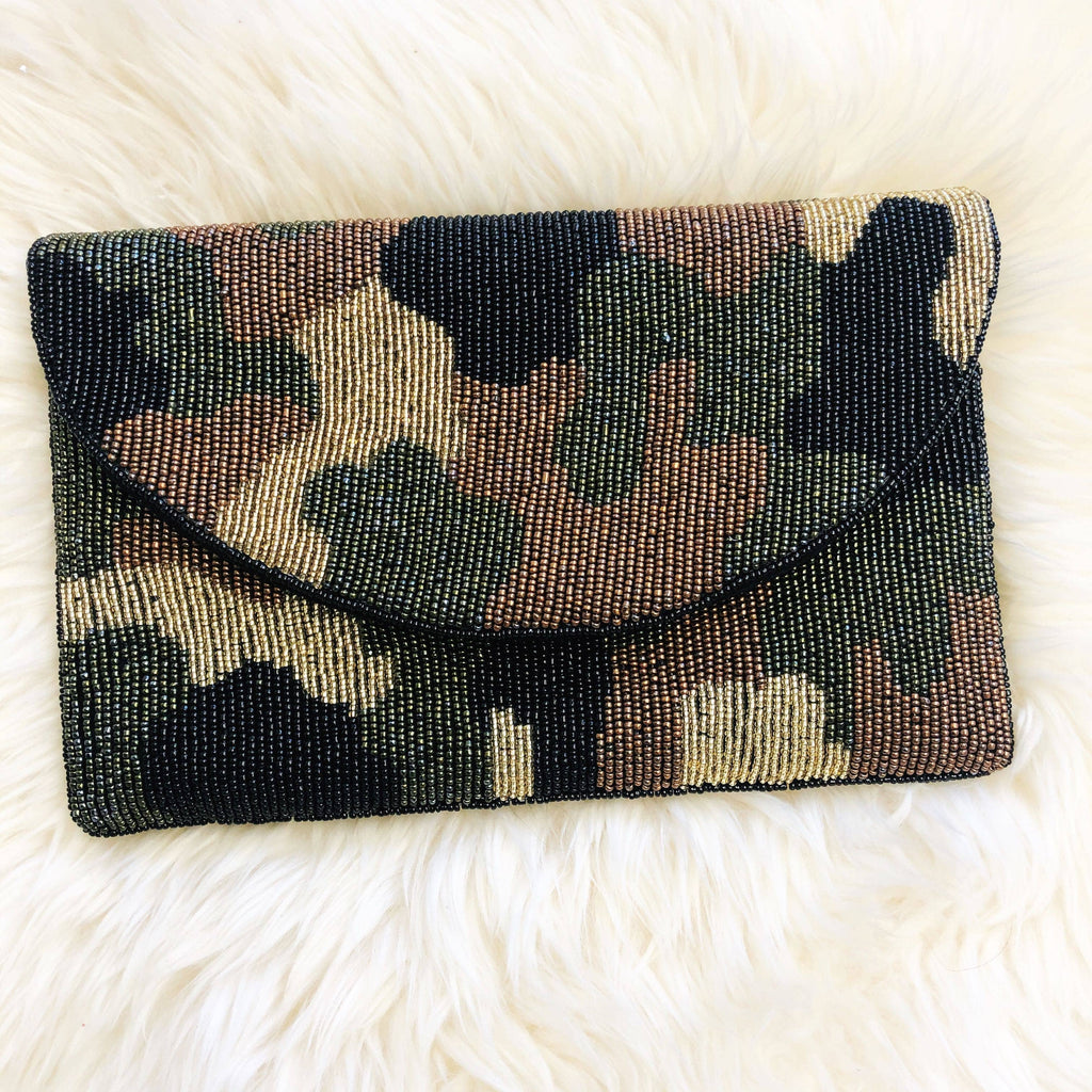 zzBeaded Camouflage Beaded Clutch - The Boho Sophisticate