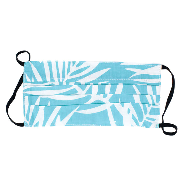 Reusable Face Mask - Blue/White Palm - The Boho Sophisticate