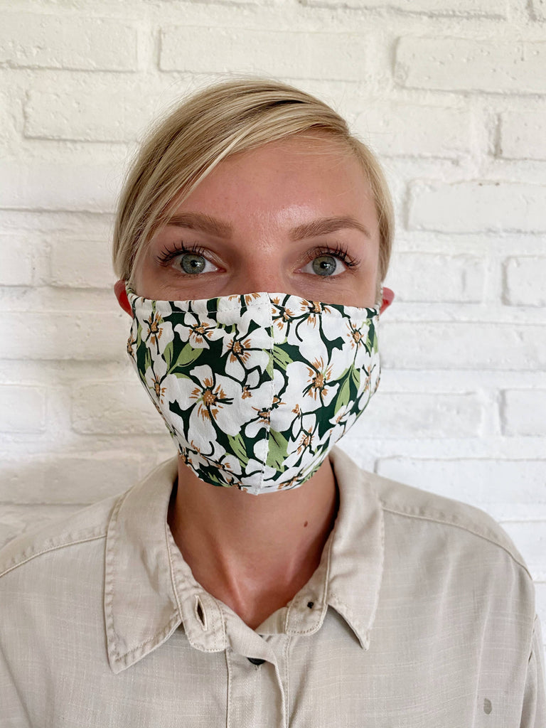 Emerald Posy Floral Viscose Face Mask - The Boho Sophisticate