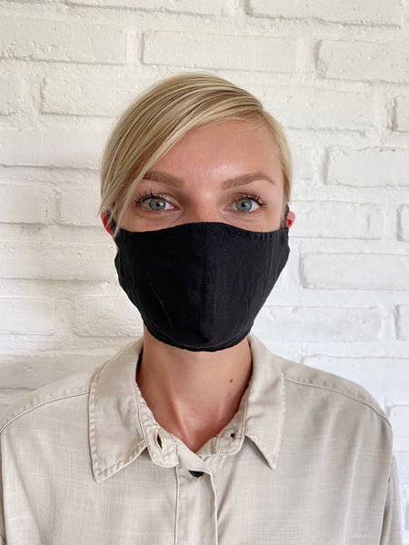 Black Linen Face Mask - The Boho Sophisticate