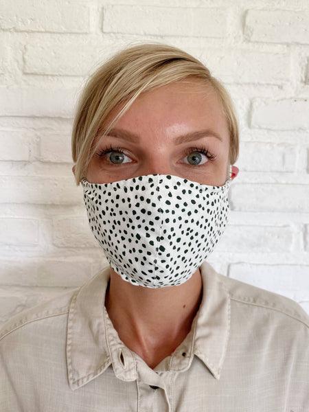 Black and White Confetti Viscose Face Mask - The Boho Sophisticate