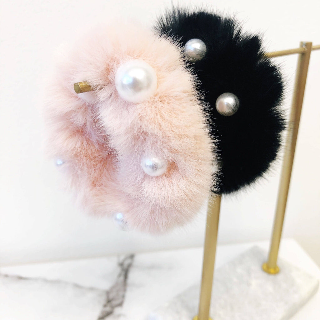 Pearl Fur Hair Scrunchies - The Boho Sophisticate