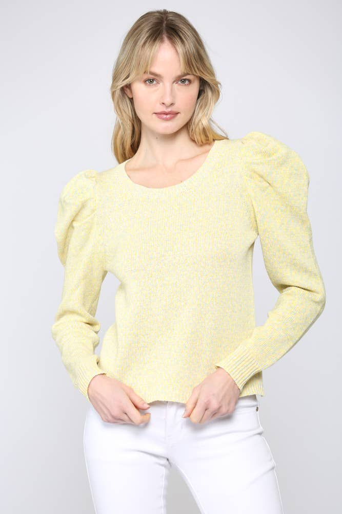 Kate Citrus Puff Shoulder Sweater - The Boho Sophisticate