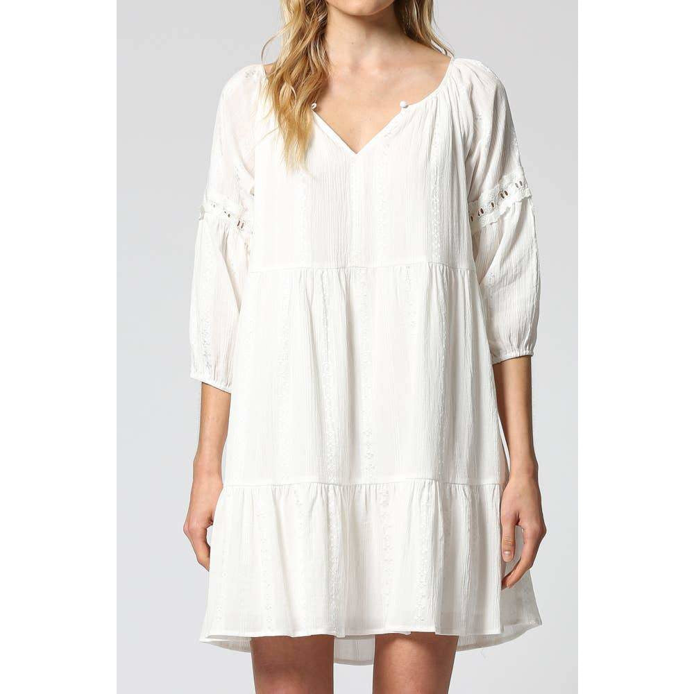 Katy Tiered Embroidered Dress - The Boho Sophisticate