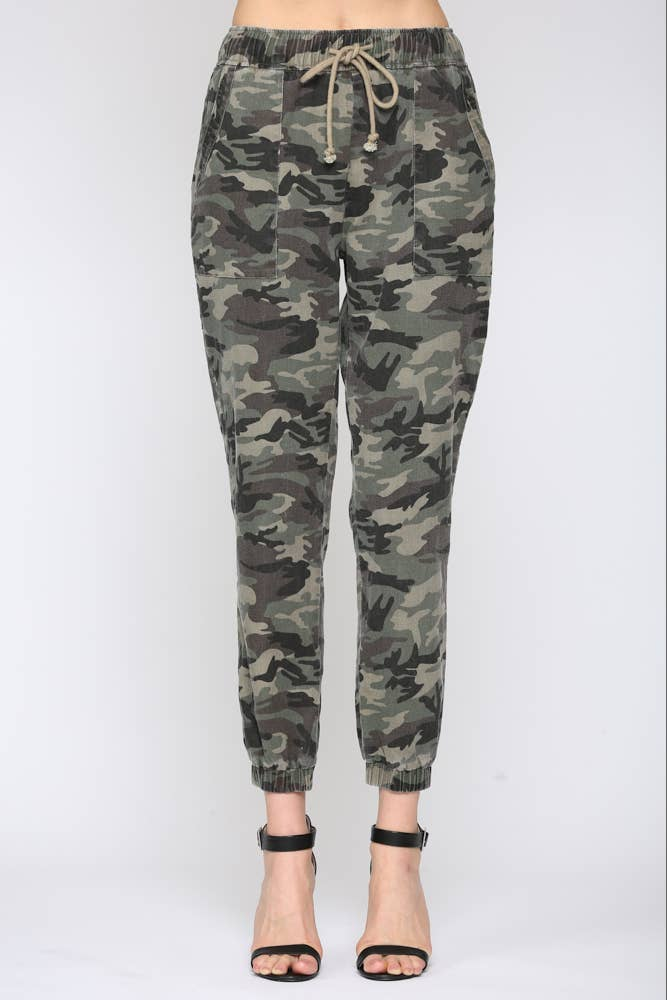WASHED CAMO PRINT JOGGER PANTS - The Boho Sophisticate