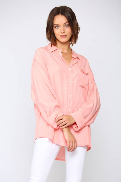 Kelly Silky Oversized Buttondown Shirt - The Boho Sophisticate