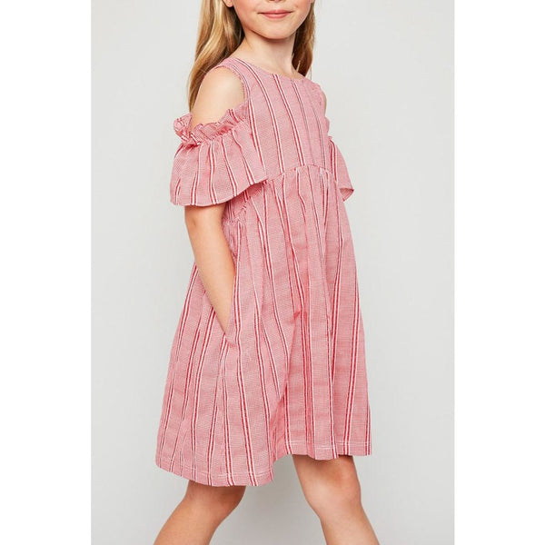 gingham striped red cold shoulder dress girls tweens
