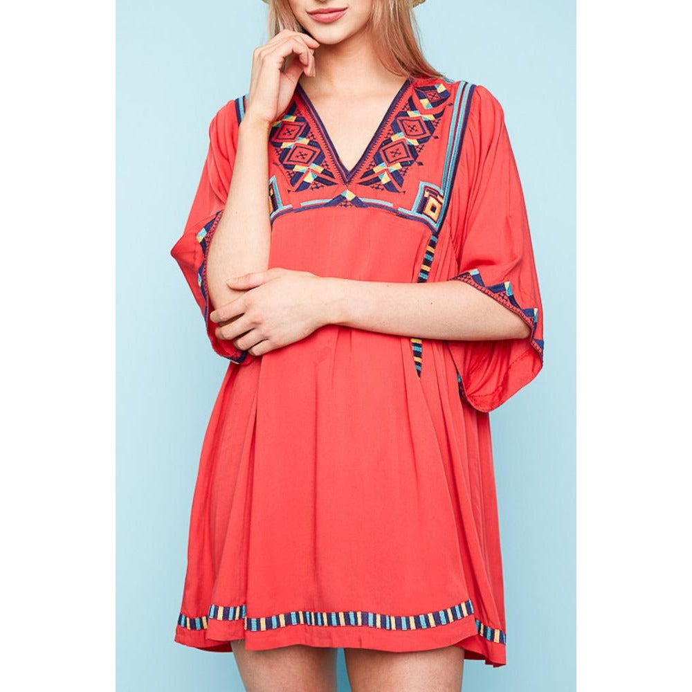 zzRachel Tunic - Tomato Embroidered Bell Sleeve Tunic - The Boho Sophisticate