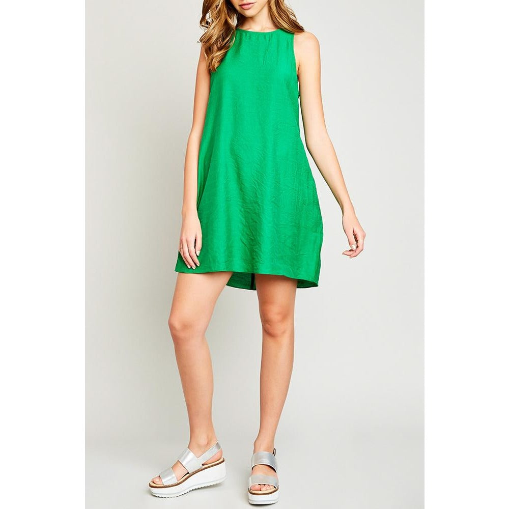 kelly green shift dress with ruffle back
