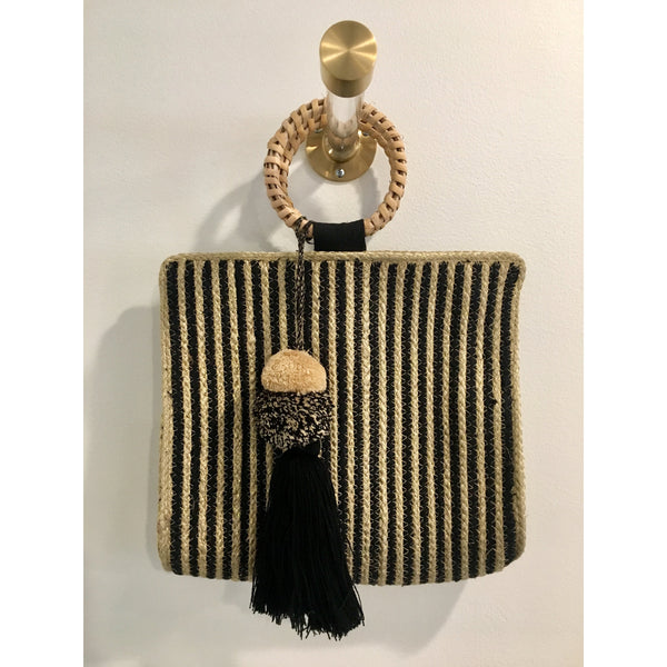 Black Stripe Handbag - The Boho Sophisticate