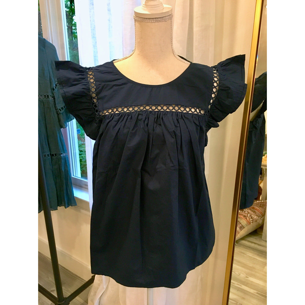 Navy Ruffle Sleeve Top