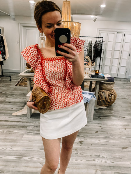 Cherry Eyelet Red and White Peplum Top - The Boho Sophisticate