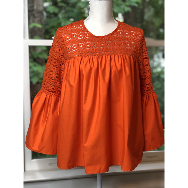 Orange Bell Sleeve Top