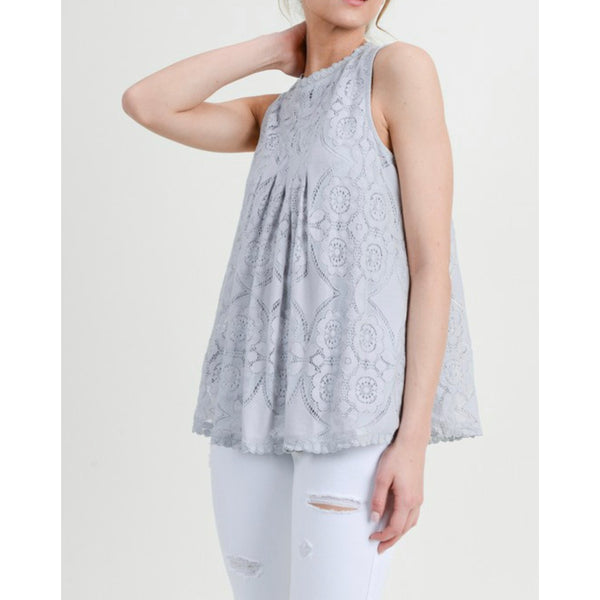 Naomi Lace Top | Lined Lace Detail Top (Cranberry, Black, White, Grey)