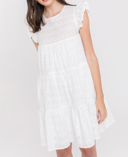 Blair White Eyelet Babydoll Dress - The Boho Sophisticate