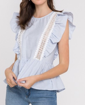 Angela Chambray Striped Ruffle Top - The Boho Sophisticate