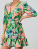 Heather Tropical Leaf Puff Sleeve Belted Dress - The Boho Sophisticate