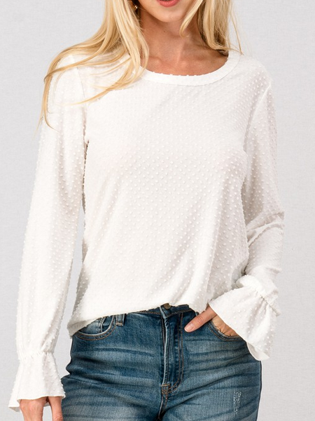Popcorn Dot Bishop Sleeve Super Lightweight Top - The Boho Sophisticate