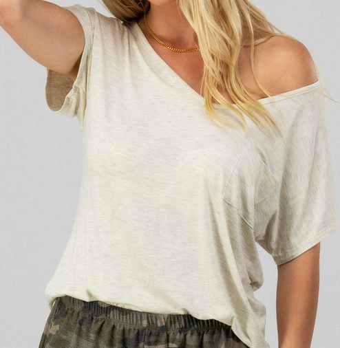 Basic V-Neck Pocket Tee (Black / White) - The Boho Sophisticate
