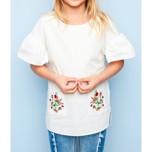 Girls or Tweens White Tunic with Floral Embroidered Pockets