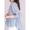 zzDonna Bell Sleeve Top | Seersucker (Grey, Blue) with Criss-Cross Back - The Boho Sophisticate