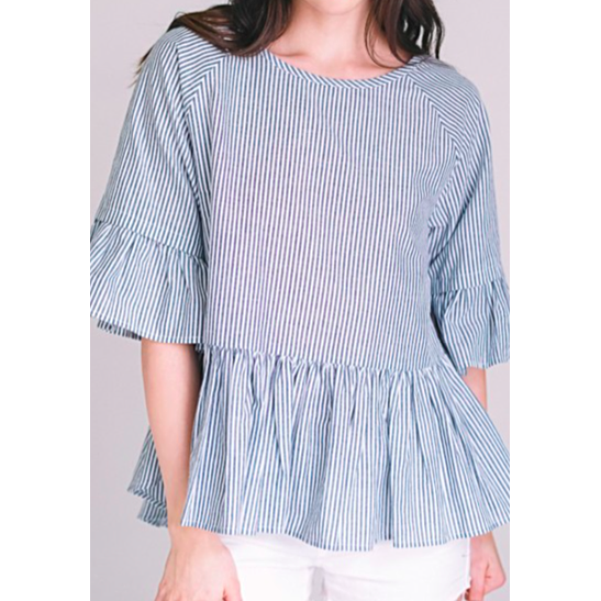 women's ruffle top seersucker grey high low criss-cross back