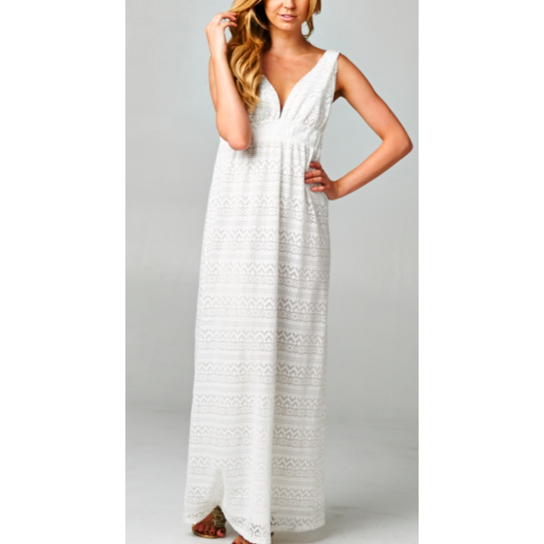 women's sleeveless white crochet maxi dress with plunge neckline