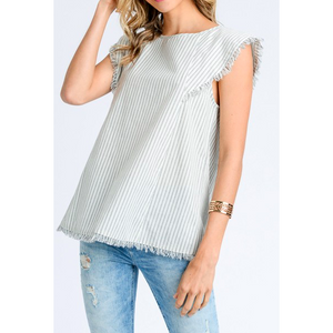 women's lightweight cotton grey stripe fringe shirt