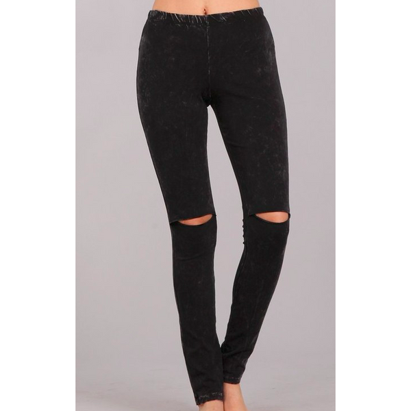 black slit knee mineral wash leggings jeggings