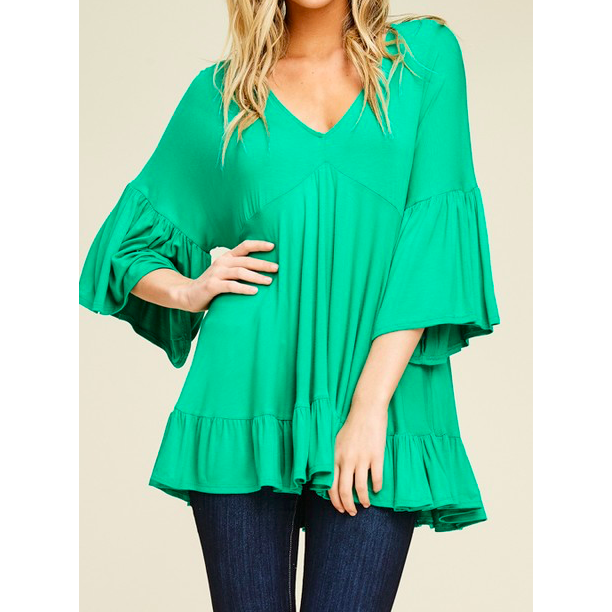 Brandi Top - Bell Sleeve Flowy Tunic (kelly green, tomato red) - The Boho Sophisticate