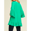kelly green soft flowy tunic with bell sleeves