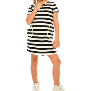Katherine Dress | Girls' Striped Scalloped Playdress with Pockets (Grey/White or Black/White)