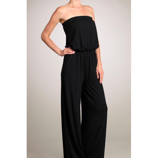 Jennifer Jumpsuit - Black Cotton/Jersey Jumpsuit - The Boho Sophisticate