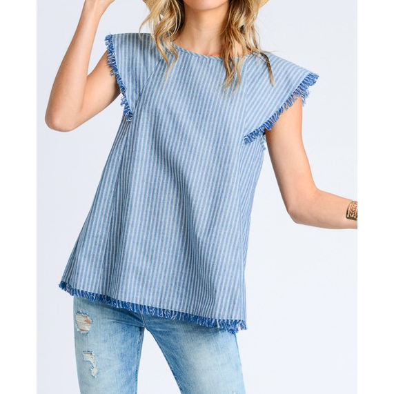 Betsy Top - Grey or Denim Stripe Lightweight Top with Fringe Detail