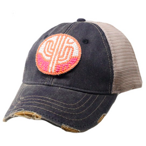 Cactus Patch Boho Trucker Hat - Navy, Pink and Coral