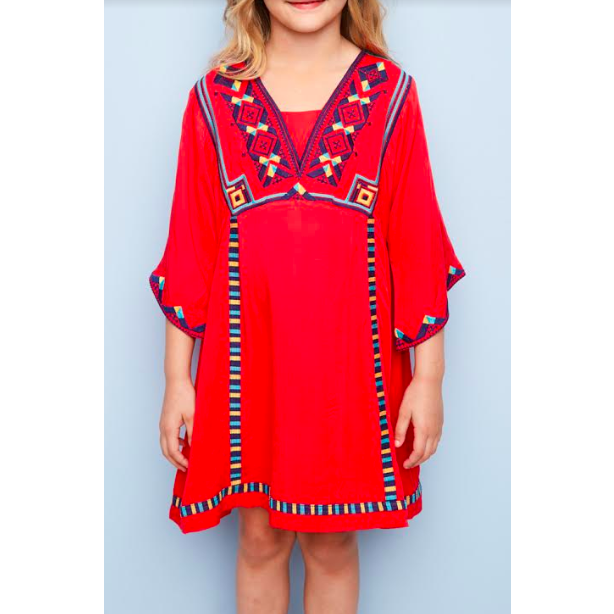 Mini Rachel Dress - Tomato Embroidered Bell Sleeve Tunic Dress for Girls and Tweens