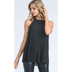 Flowy High Neck Pleated Tank