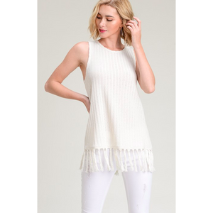 Fringed Sweater Tank