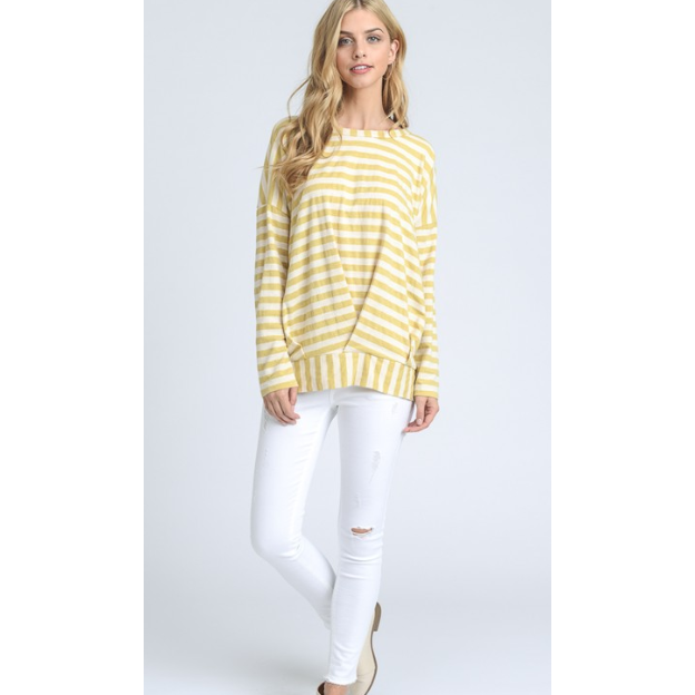 Gathered Striped Sweater Tee