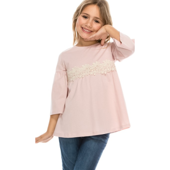 Girl's Pink Bell Sleeve Top with Lace Detail - The Boho Sophisticate