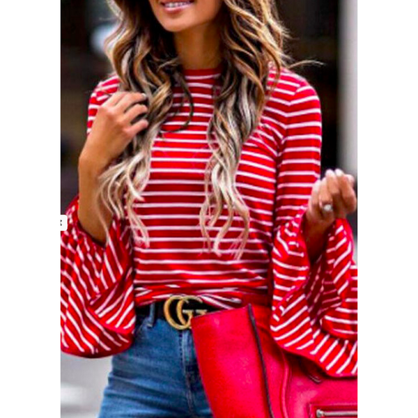 Striped Bell-Sleeve Top (Navy, Red)