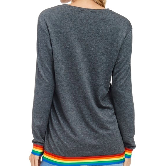 Good Vibes Long Sleeve French Terry Rainbow Shirt