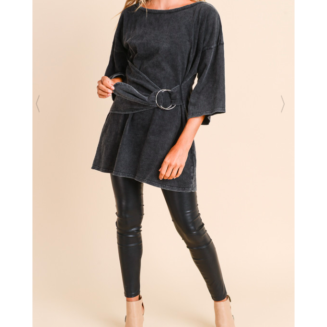 Slouchy, Mineral Washed Ring Belt Tunic Tee