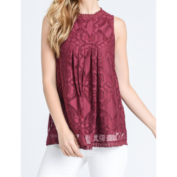 Naomi Lace Top | Lined Lace Detail Top (Cranberry, Black, White)