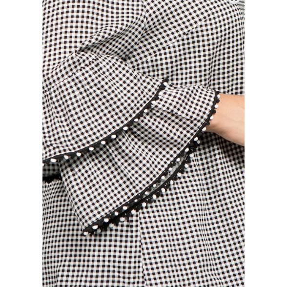 Double Ruffle Bell Sleeve Blouse - Black/White Gingham (Boho Plus)