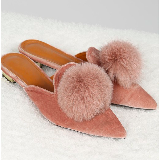 Backless Slide Shoes with Fluffy Pom Pom