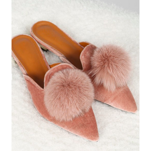 Backless Loafers with Fluffy Pom Pom