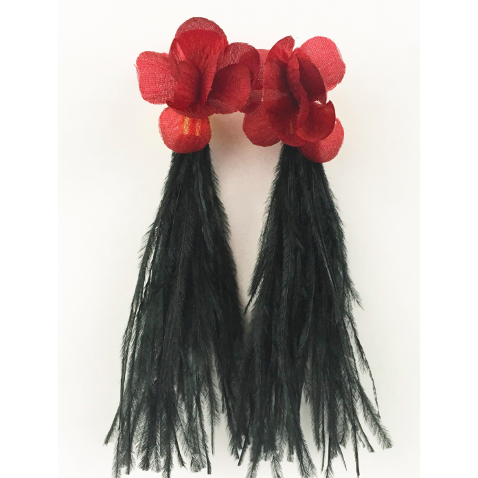 Garnet Flower with Black Ostrich Feathers Earring